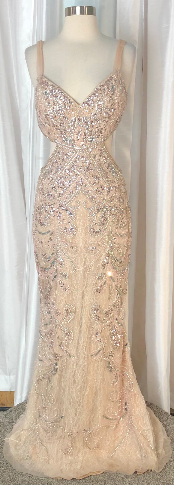 JASZ Couture Pale Pink Long Embellished Dress Size 8