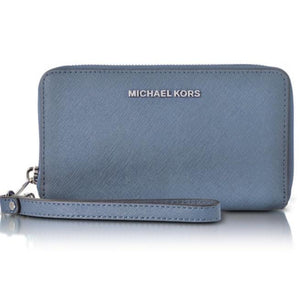 MICHAEL KORS Large Flat Jet Set Blue Saffiano Leather Wristlet