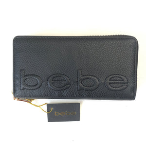 BEBE Black Bailey Zip Around Wallet NWT