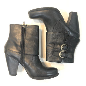 B.O.C Black Pebbled Leather Heeled Booties Size 7.5
