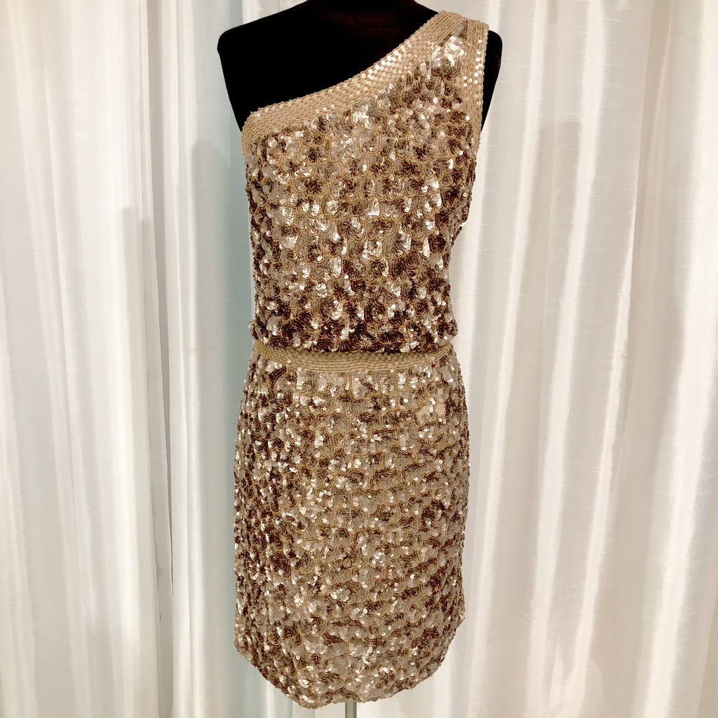 AIDAN MATTOX Short Gold Sequined One Shoulder Band Gown Size 12