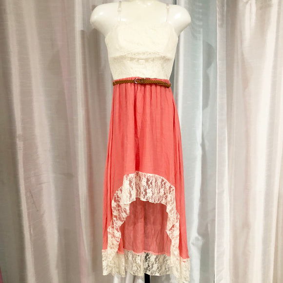 BOUTIQUE Coral & White High-Low Dress Size XS