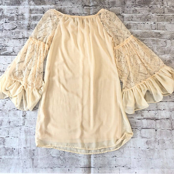 BOUTIQUE Cream Off The Shoulder Dress Size S