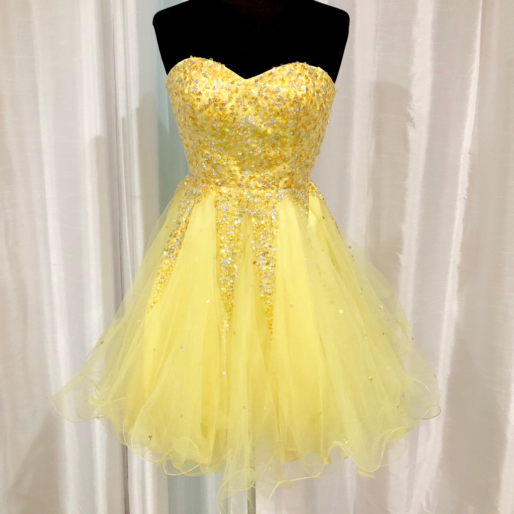 DAVE & JOHNNY Short Yellow Gown Size 0