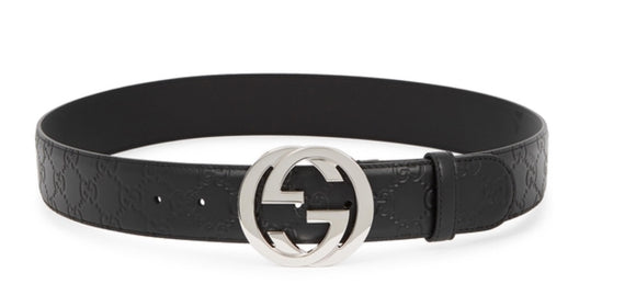 GUCCI Monogram Leather GG Embossed Black Belt