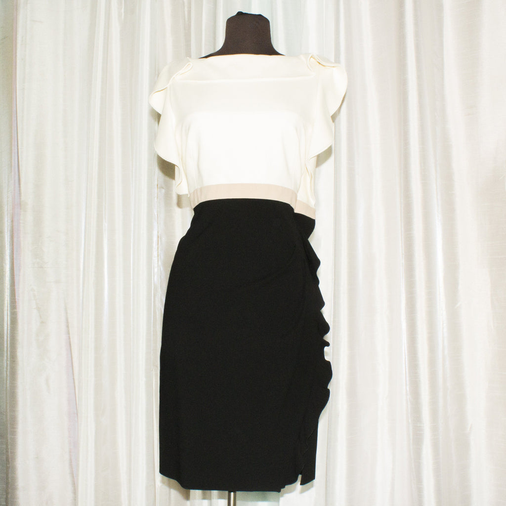 VALENTINO Cream and Black Dress Size 8