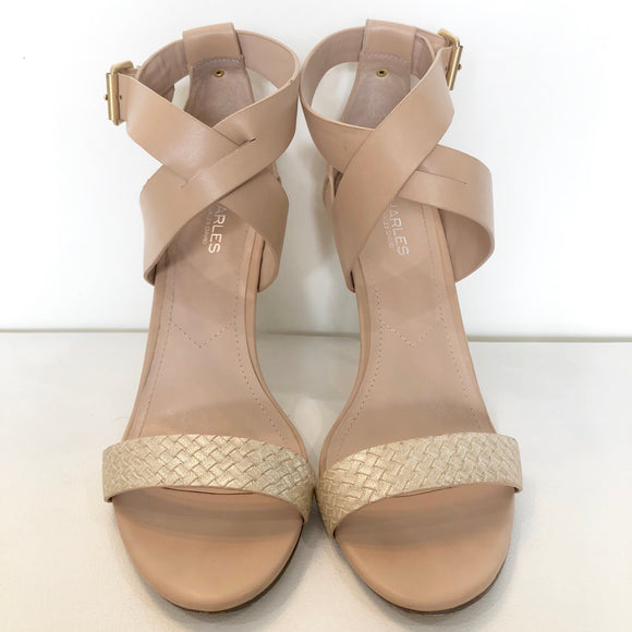 CHARLES By CHARLES DAVID Nude Metallic Ringer Heels Size 10