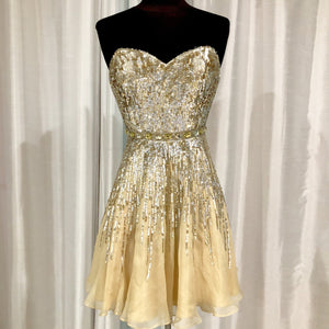 SHERRI HILL Short Gold Sequin Gown Size 4
