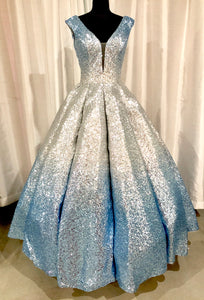 PANOPOLY Ombré Sequin Princess Gown Silver/Sky Size 8