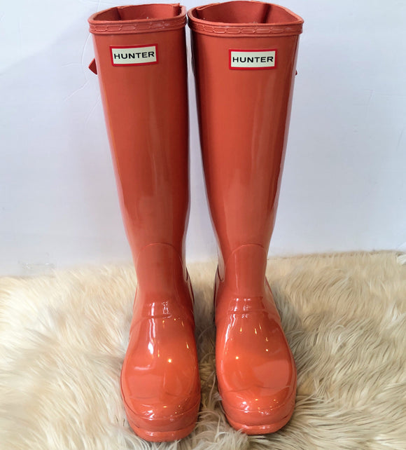 HUNTER WOMENS ORIGINAL TALL GLOSS RAIN BOOTS ORANGE SIZE 8