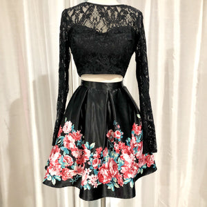 BOUTIQUE Short Black & Floral Two Piece Gown Size 9