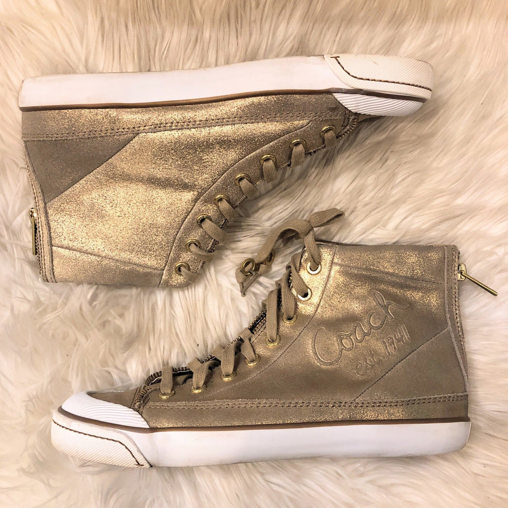 COACH FATIMA METALLIC BRONZE DUST SIZE 8.5 SNEAKERS