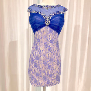 BOUTIQUE Short Nude & Royal Blue Form Fitting Gown Size 12