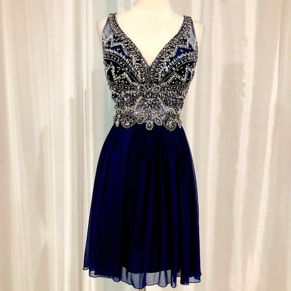 JOLENE Short Navy Embellished Gown Size 16