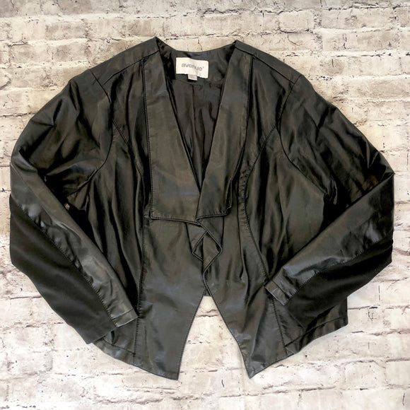 AVENUE Black Cascade Faux Leather Jacket Size 22/24
