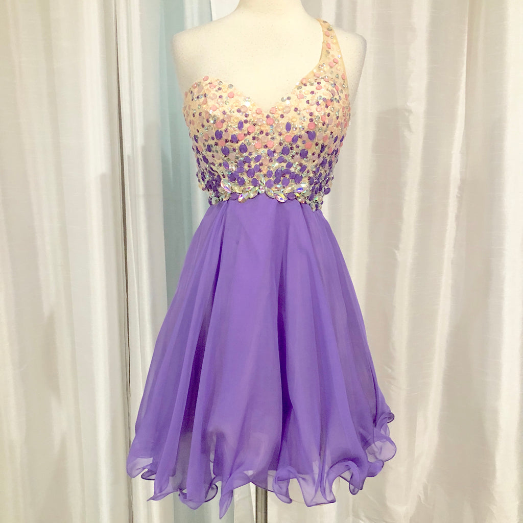 BLUSH PROM Short Light Purple One Shoulder Gown Size 6
