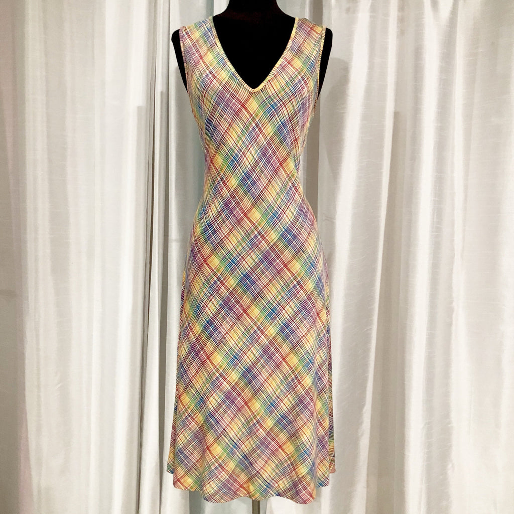 DIANE VON FURSTENBERG Rainbow Print Short Dress Size 10