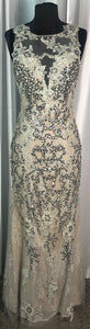 BOUTIQUE Long Silver/ Off White Dress Size Medium