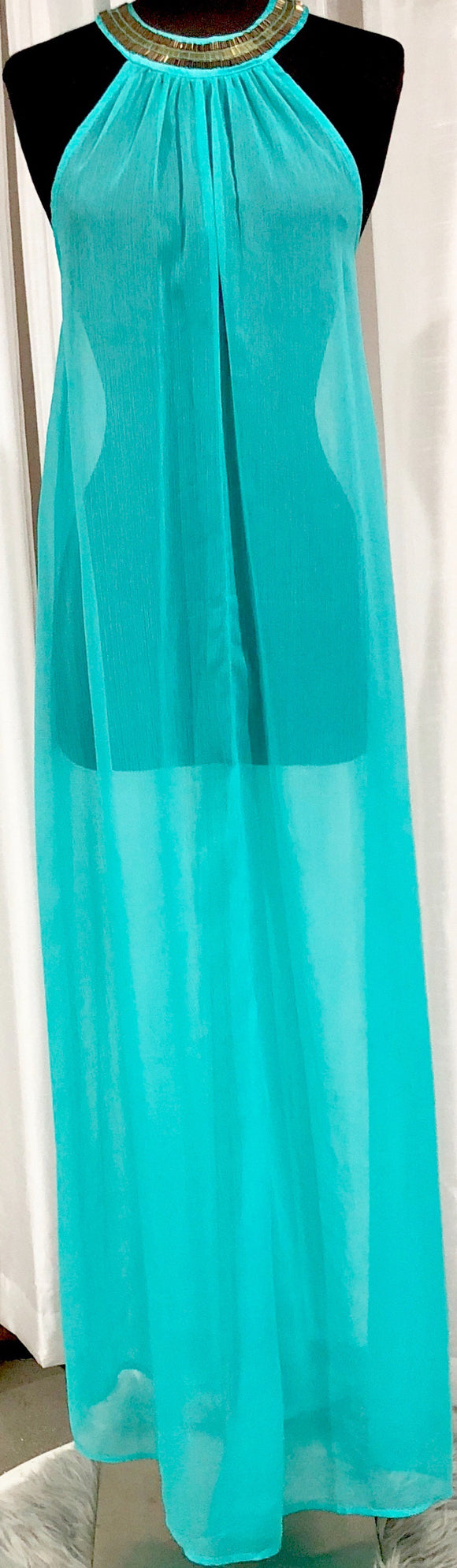 BOUTIQUE Turquoise Sheer Long Cover Up Size 6