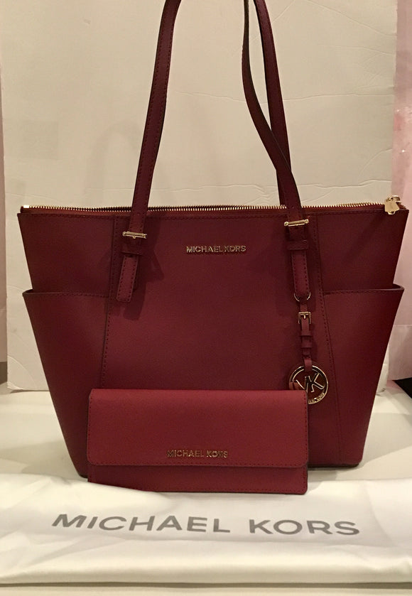 MICHAEL KORS Large Jet Set Top Zip Saffiano Leather Burgundy Red WITH MATCHING WALLET