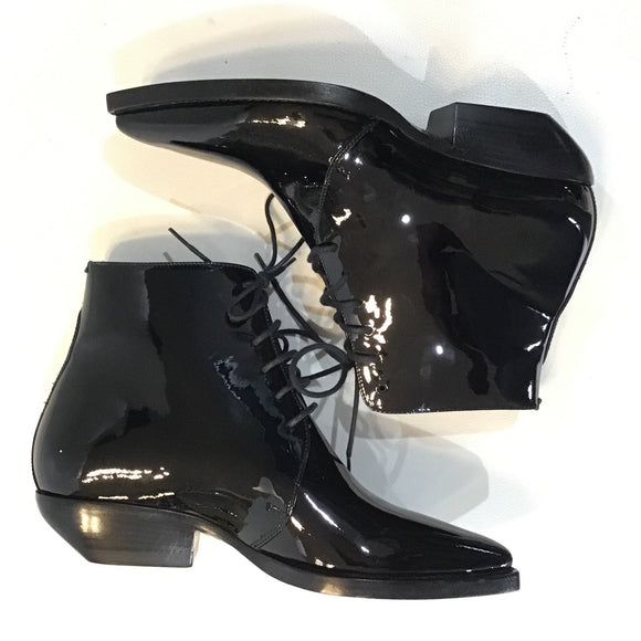 SAINT LAURENT Black Patent Calfskin Theo Lace Up Ankle Boots Size 36