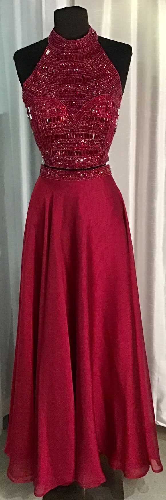 SHERRI HILL Long Ruby Two Piece Gown Size 14