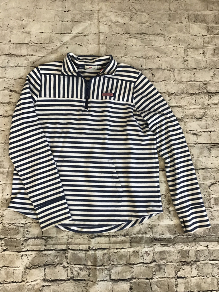 VINEYARD VINES Blu and White Striped Large 3/4 Zip Pullover