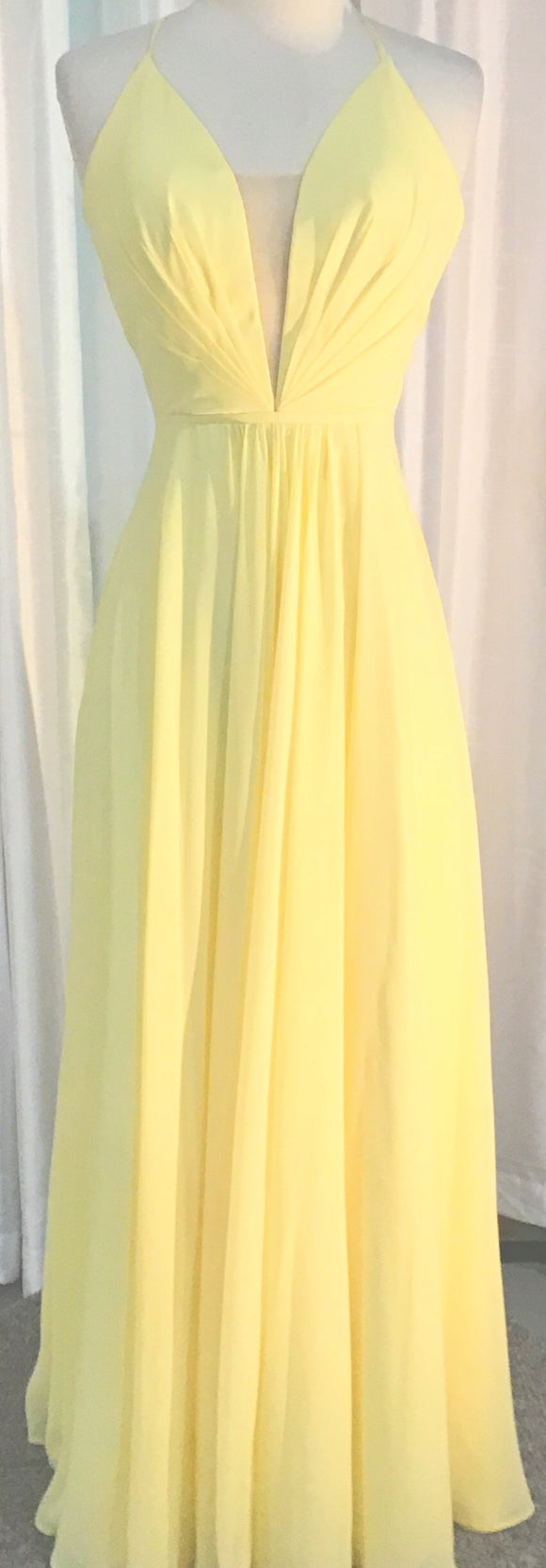 FAVIANA LONG PALE BUTTER YELLOW DRESS MULTIPLE SIZES