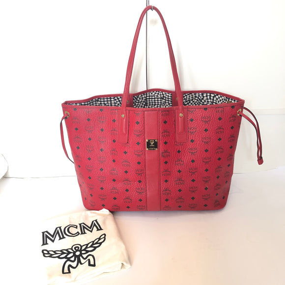 MCM Ruby Red Large Reversible Liz Shopper Tote