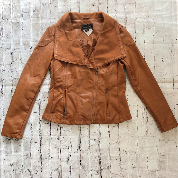 BOUTIQUE SIZE S CAMEL FAUX LEATHER MOTORCYCLE