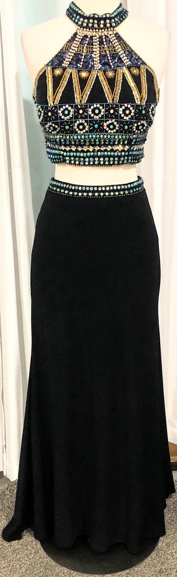 SHAE COUTURE NAVY TWO-PIECE LONG DRESS SIZE 7/8