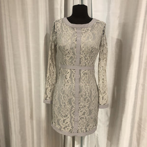 BOUTIQUE Short Light Gray Lace Long Sleeve Gown Size XS