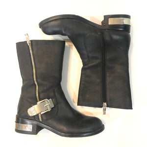 VINCE CAMUTO Black & Gold Winchell Distressed Leather Motorcycle Boot Size 8