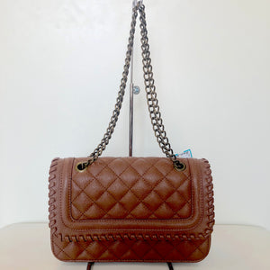 EXPRESS Brown Quilted Handbag With Chain Straps