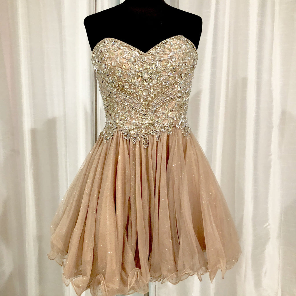 GLAMOUR By TERANI COUTURE Short Champagne Gown Size 6