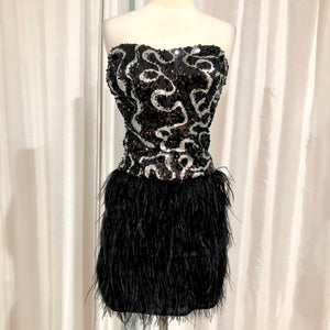 MILANO Short Strapless Black & Silver Gown Size 14