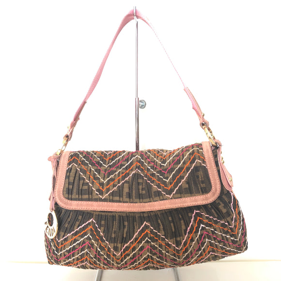 FENDI Small Brown Zucca Print Shoulder Bag with Topstitch Detail