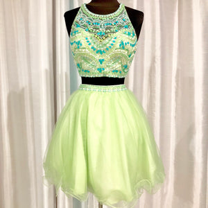 BLUSH PROM Short Light Green Two Piece Gown Size 4