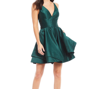 BLONDIE NITES Short Emerald Satin Fit & Flare Gown Size 7