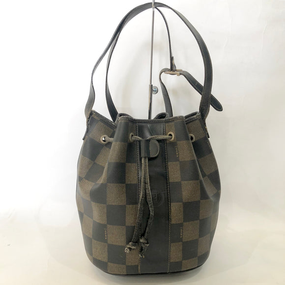 FENDI Vintage Brown Checkerboard Print Bucket Bag