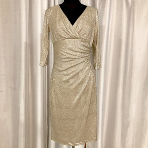 RALPH LAUREN Short Champagne Long Sleeve Gown Size 6