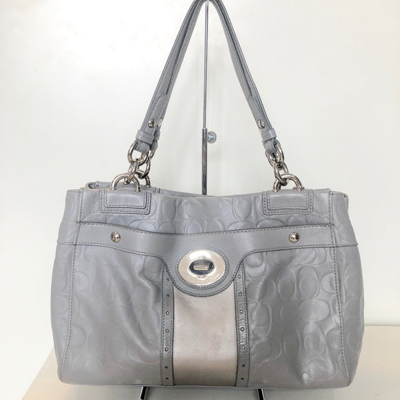 COACH Grey Penelope Embossed Leather Shopper Carryall Handbag