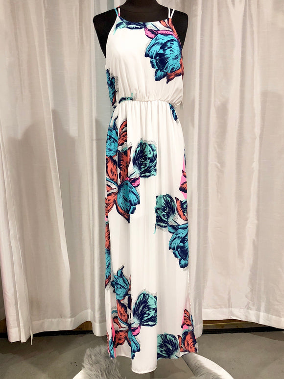 PINK OWL APPAREL White & Floral Maxi Dress Size S NWT