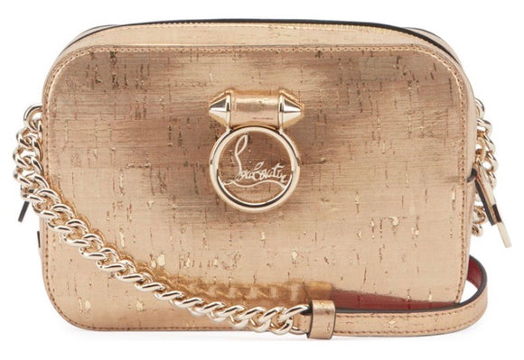CHRISTIAN LOUBOUTIN Rubylou Mini Liege Pepite Cork Gold Leather Crossbody Bag