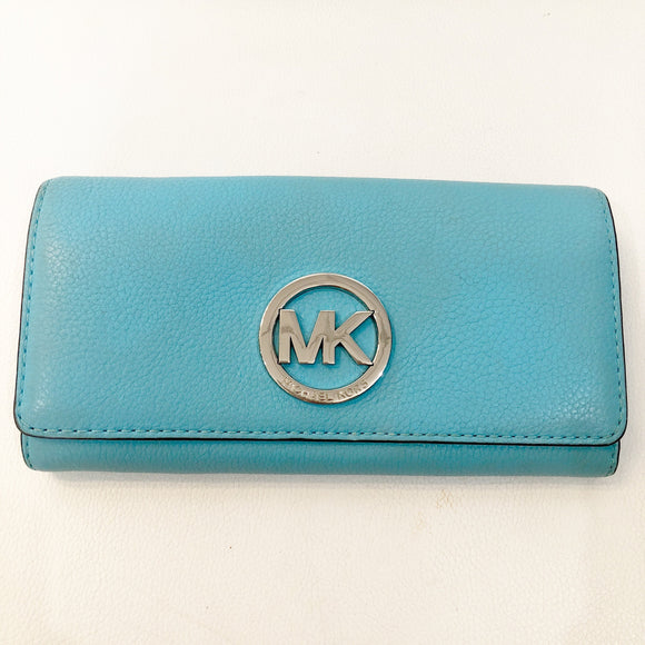 MICHAEL KORS Light Blue Carryall Fulton Flap Wallet