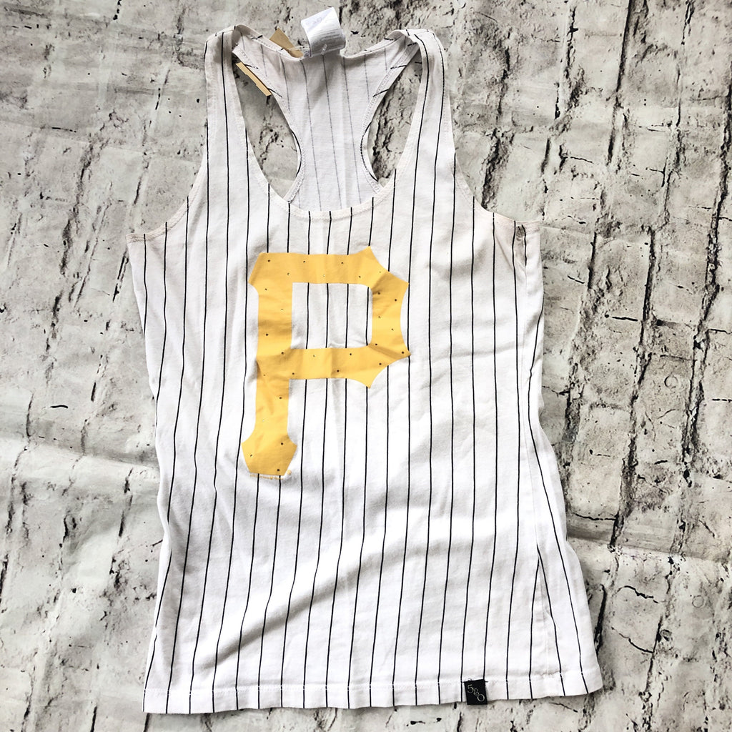 BOUTIQUE Pinstripe Pittsburgh Pirates Tank Top Size S