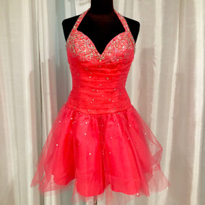 MORI LEE Short Coral Halter Gown Size 11/12