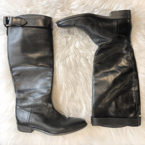 BURBERRY BLACK LEATHER RIDING BOOTS SIZE 39.5 (8.5)