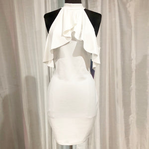 BOUTIQUE Short White Form Fitting Turtle Neck Dress Size S NWT
