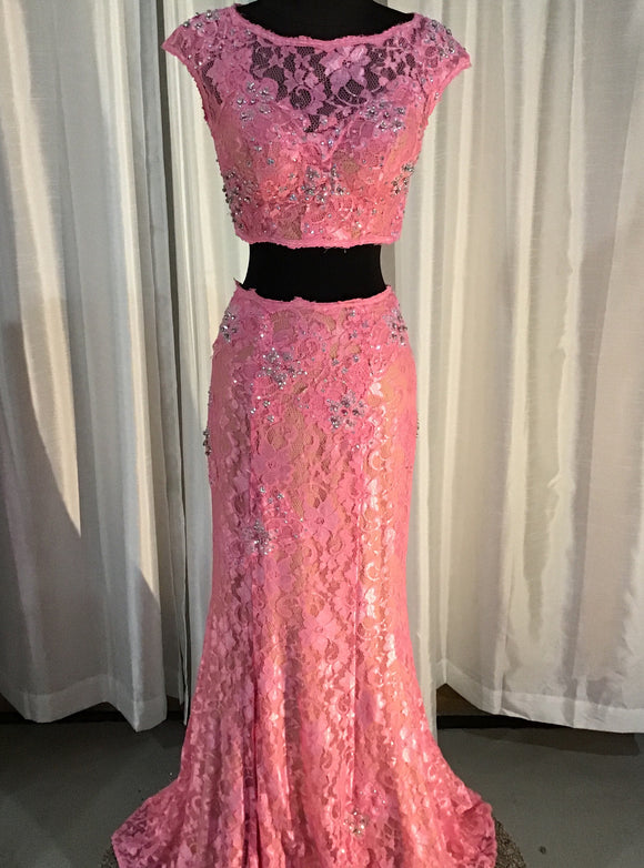 JOVANI PINK TWO-PIECE LACE DRESS SIZE 2